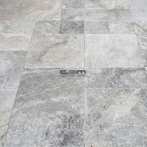 Silver Travertine Tumbled Pattern Set Paver