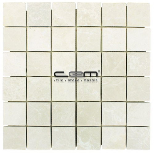 2x2 - 48x48mm Botticino Beige Marble Polished Mosaic