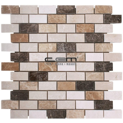 1x2 - 23mmx48mm Spanish Mix Marble Mosaic
