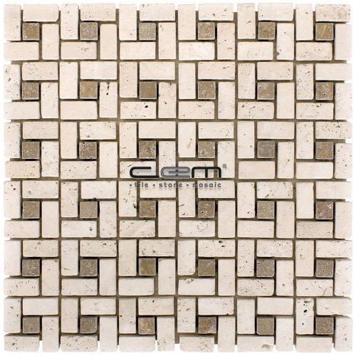 Ivory  Noche Travertine Pinwheel Mini Target Tumbled Mosaic