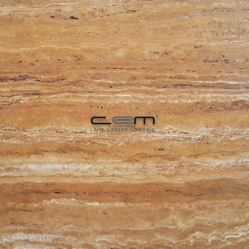 Gold Yellow Travertine Vein Cut Tile Filled Honed