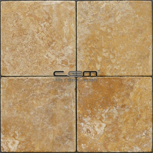 Gold Yellow Travertine Tumbled Tile