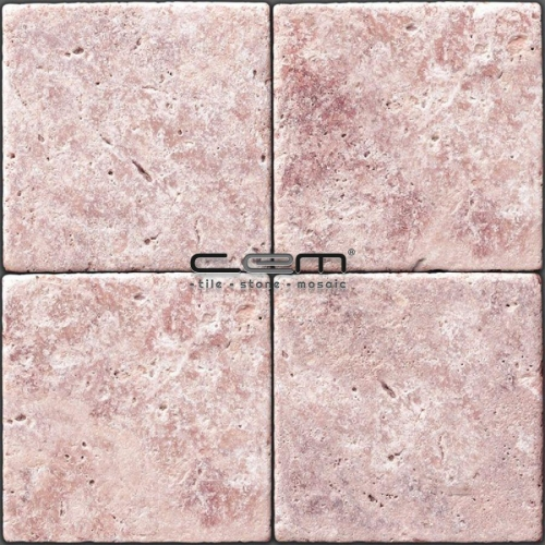 Pink Red Travertine Tumbled Tile