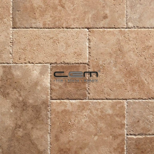 Mediterranean Walnut Travertine Chiseled Edge Pattern Set