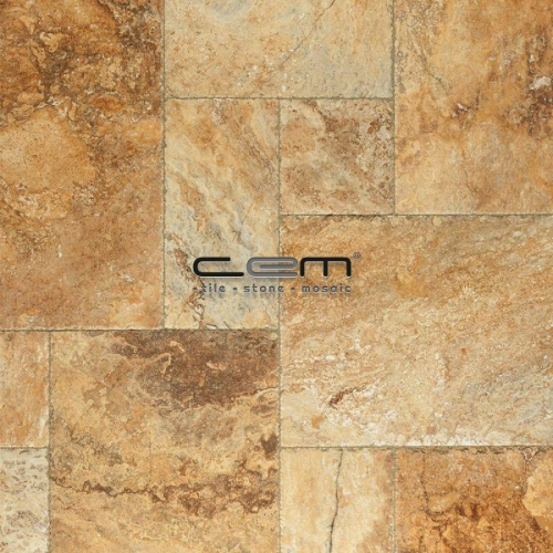 Gold Yellow Travertine Chiseled Edge Pattern Set