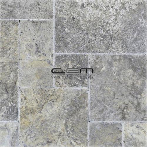 Silver Travertine Chiseled Edge Pattern Set