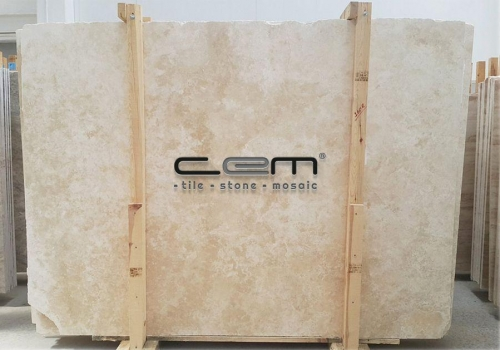 Ivory Light Travertine Slab Cross Cut