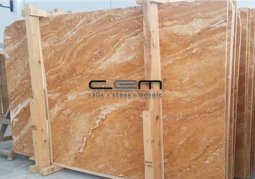 Gold Yellow Travertine Slab Cross Cut