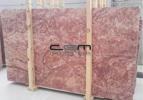 Pink Red Travertine Slab Cross Cut