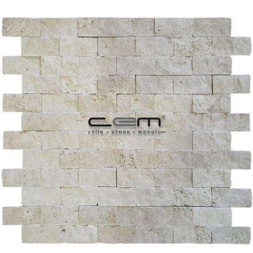 2,5x5cm (1x2) Ivory Light Travertine Split Face Mosaic