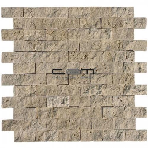 2,5x5cm (1x2) Classic Travertine Split Face Mosaic