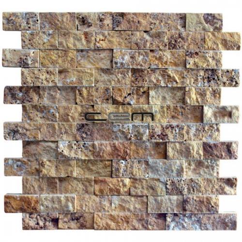 2,5x5cm (1x2) Gold Yellow Travertine Split Face Mosaic