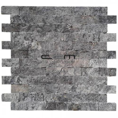 2,5x5cm (1x2) Silver Travertine Split Face Mosaic