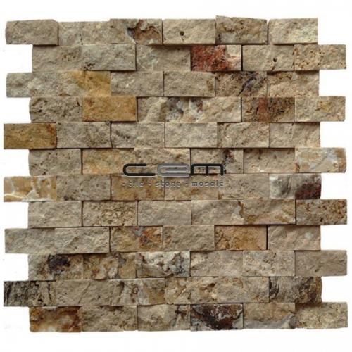 2,5x5cm (1x2) Scabas Travertine Split Face Mosaic