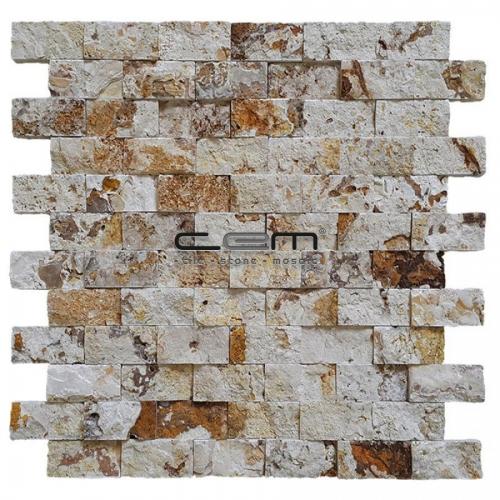 2,5x5cm (1x2) Valencia Travertine Split Face Mosaic