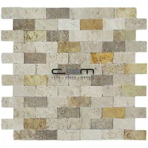 2,5x5cm (1x2) Multicolor Mix Travertine Split Face Mosaic