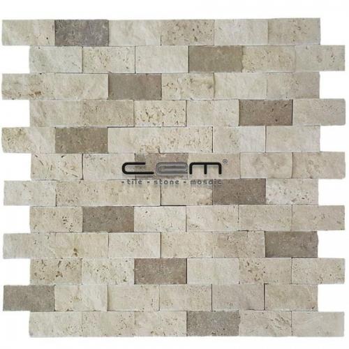 2,5x5cm (1x2) Blend Mix Travertine Split Face Mosaic