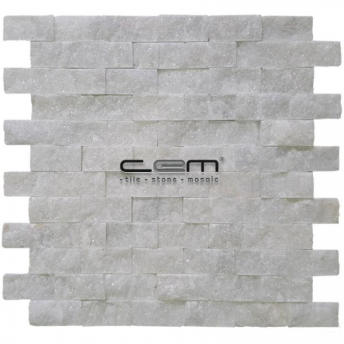 2,5x5cm (1x2) Bianco Ibiza White Marble Split Face Mosaic