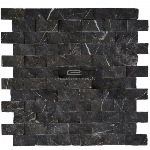 2,5x5cm (1x2) Nero Marquina Black Marble Split Face Mosaic