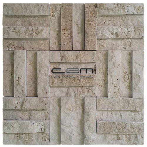 2,5x10cm (1x4) Classic Travertine Split Face Cubic Mosaic