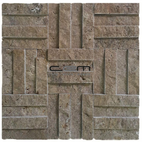 2,5x10cm (1x4) Noche Travertine Split Face Cubic Mosaic