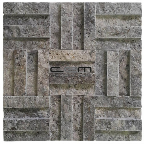2,5x10cm (1x4) Silver Travertine Split Face Cubic Mosaic
