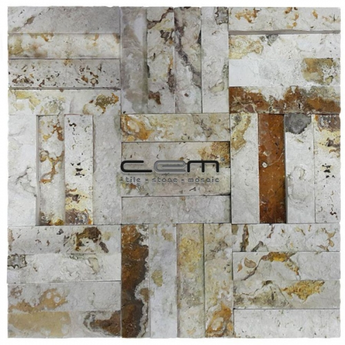 2,5x10cm (1x4) Valencia Travertine Split Face Cubic Mosaic