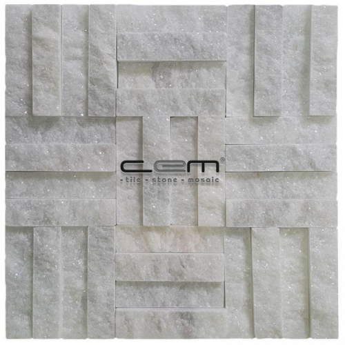 2,5x10cm (1x4) Bianco Ibiza White Marble Split Face Cubic Mosaic