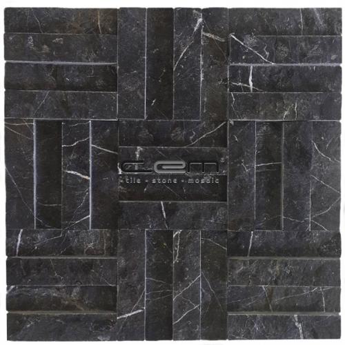 2,5x10cm (1x4) Nero Marquina Black Marble Split Face Cubic Mosaic