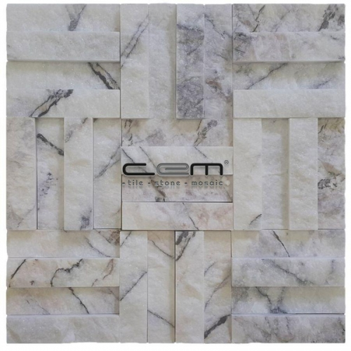 2,5x10cm (1x4) Lilac Marble Split Face Cubic Mosaic