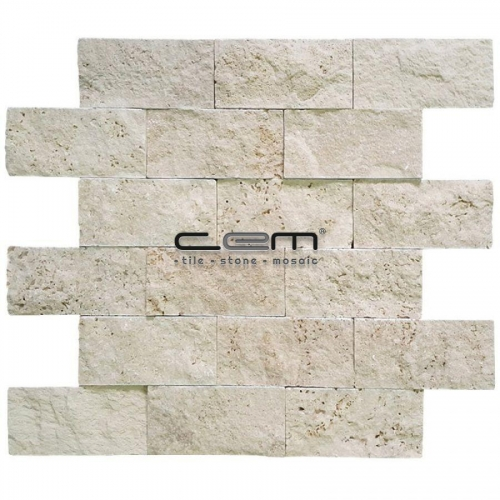 5x10cm (2x4) Ivory Light Travertine Split Face  Mosaic