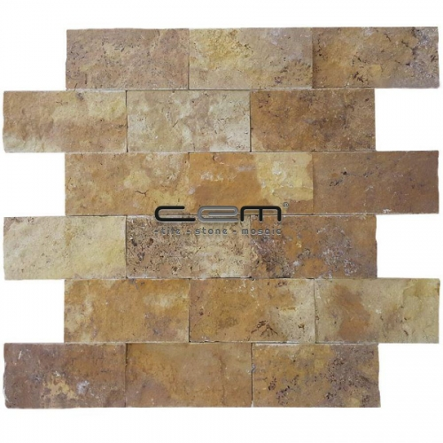 5x10cm (2x4) Gold Yellow Travertine Split Face  Mosaic
