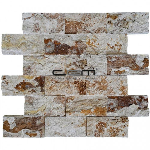 5x10cm (2x4) Valencia Travertine Split Face  Mosaic