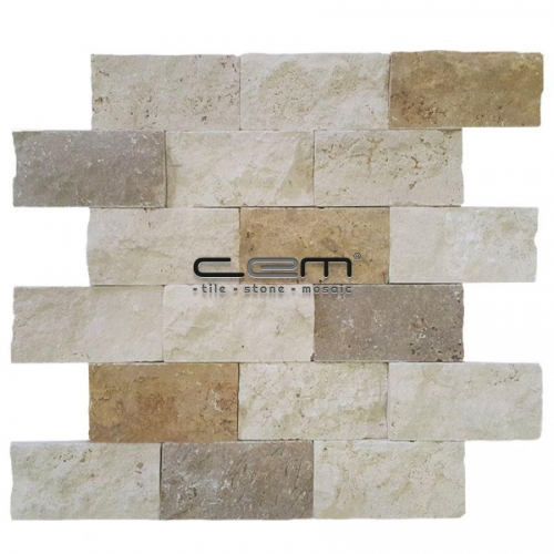 5x10cm (2x4) Multicolor Mix Travertine Split Face  Mosaic