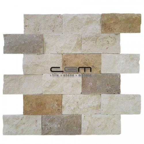 5x10cm (2x4) Multicolor Mix Travertine Split Face  Mosaic