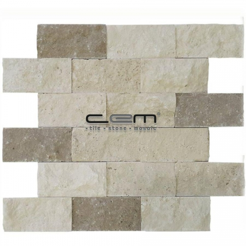 5x10cm (2x4) Blend Mix Travertine Split Face  Mosaic