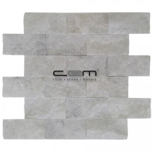 5x10cm (2x4) Bianco Ibiza White Marble Split Face  Mosaic