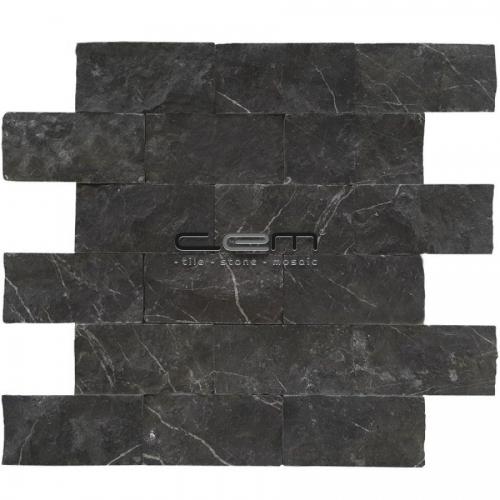 5x10cm (2x4) Nero Marquina Black Marble Split Face  Mosaic