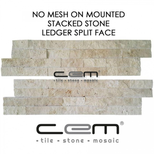 Ivory Travertine Ledger Panel Split Face Mosaic