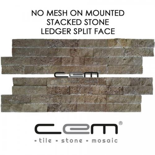 Noche Travertine Ledger Panel Split Face Mosaic