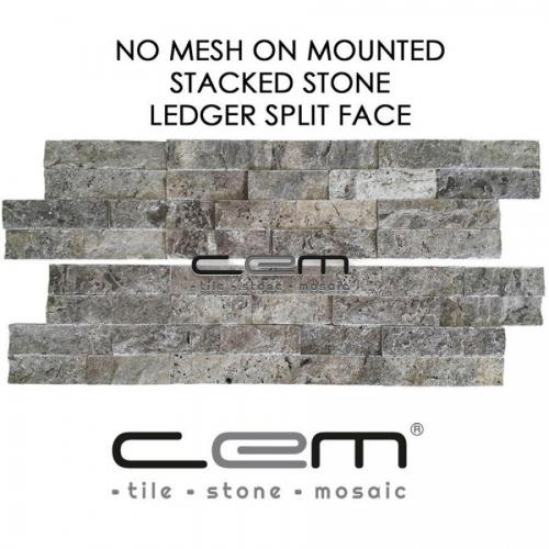Silver Travertine Ledger Panel Split Face Mosaic