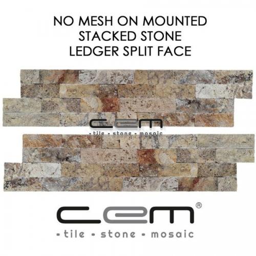 Scabas Travertine Ledger Panel Split Face Mosaic