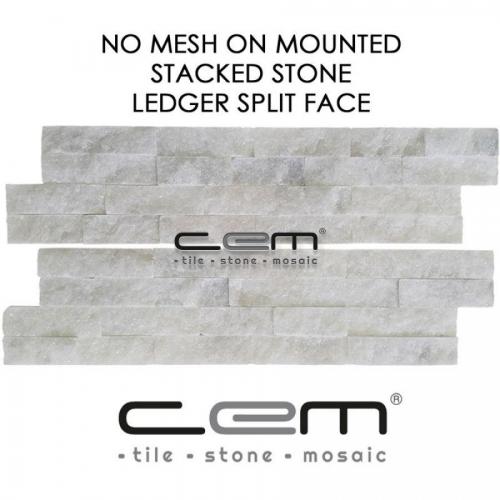 Bianco Ibiza White Marble Ledger Panel Split Face Mosaic