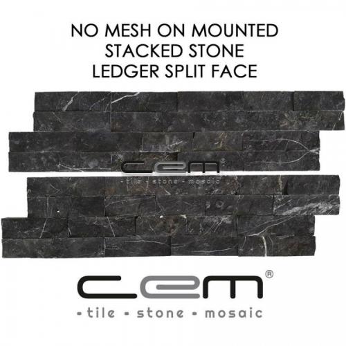 Nero Marquina Black Marble Ledger Panel Split Face Mosaic