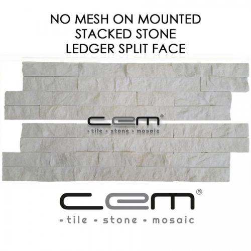 Snow White Marble Ledger Panel Split Face Mosaic