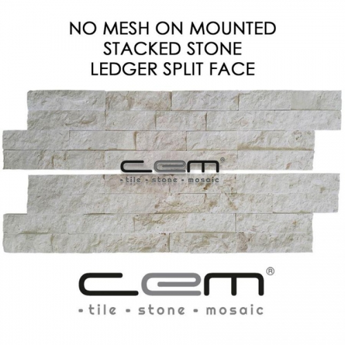Myra Beige Limestone Ledger Panel Split Face Mosaic