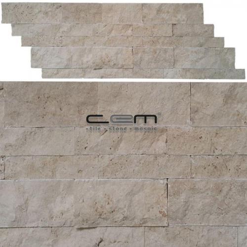 Ivory Travertine Z Panel Wall Cladding Split Face Mosaic