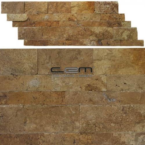 Gold Yellow Travertine Z Panel Split Face Mosaic