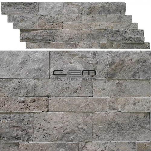 Silver Travertine Z Panel Wall Cladding Split Face Mosaic