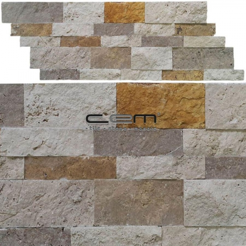 Multicolor Mix Travertine Z Panel Wall Cladding Split Face Mosaic